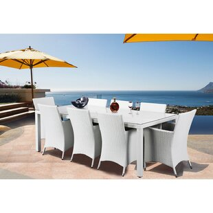Latitude Run 9 Piece Dining Set with Cushions