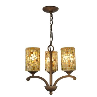 Bayou Breeze Mclaughlin Art Glass 3-Light Shaded Chandelier