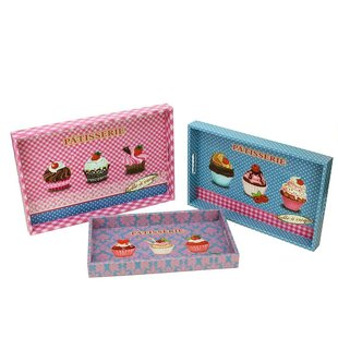 3 Piece Decorative Patisserie and Cupcakes Rectangular Serving Tray Set