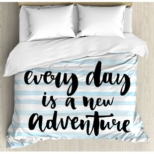 East Urban Home Inspirational Quotes Every Day Is a New Adventure Calligraphy Text Watercolor Stripes Print Duvet Set