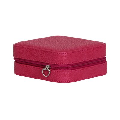 Winston Porter Faux Leather Jewelry Travel Case Color: Magenta