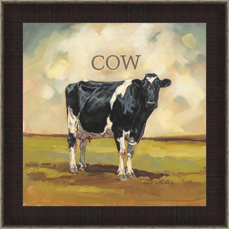 August Grove Cow Framed Acrylic Painting Print Wayfair