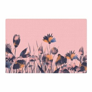 Hitidesign Crazy Flowers Illustration Pink/Blue Area Rug