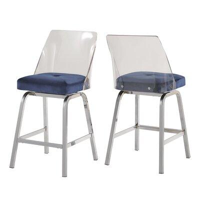 Everly Quinn Haskell 24 Swivel Bar Stool Upholstery: Blue
