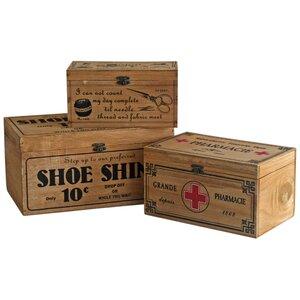 3-tlg. Kisten-Set aus Holz von Castleton Home