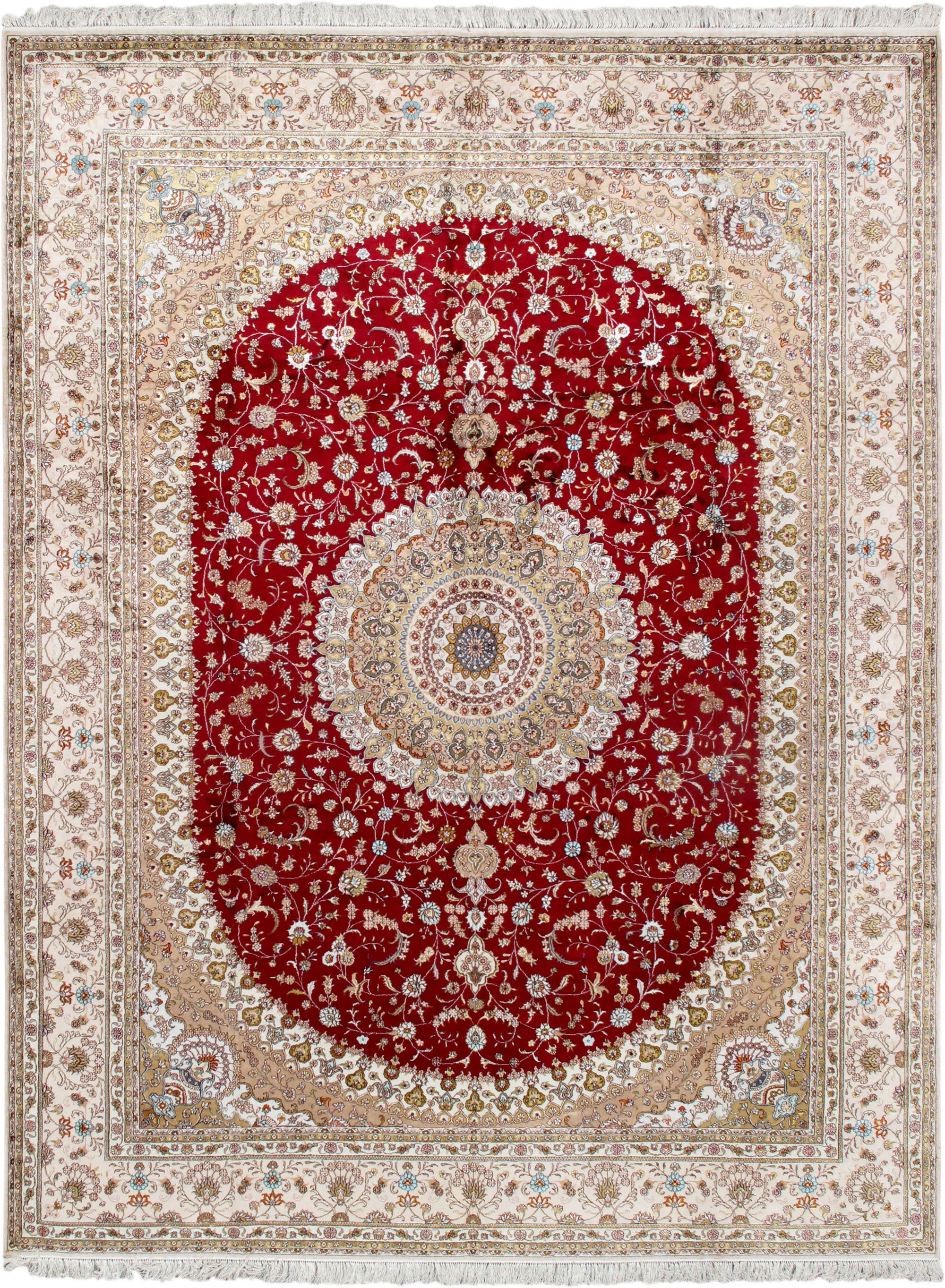 Pasargad One Of A Kind Tabriz Hand Knotted Red Ivory 9 X 12 Silk Area Rug Wayfair