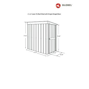 Globel 4 ft. W x 6 ft. D Lean To Storage Shed