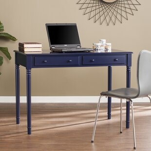 Beachcrest Home Vandever Farmhouse 2-Drawer Writing Desk - Navy