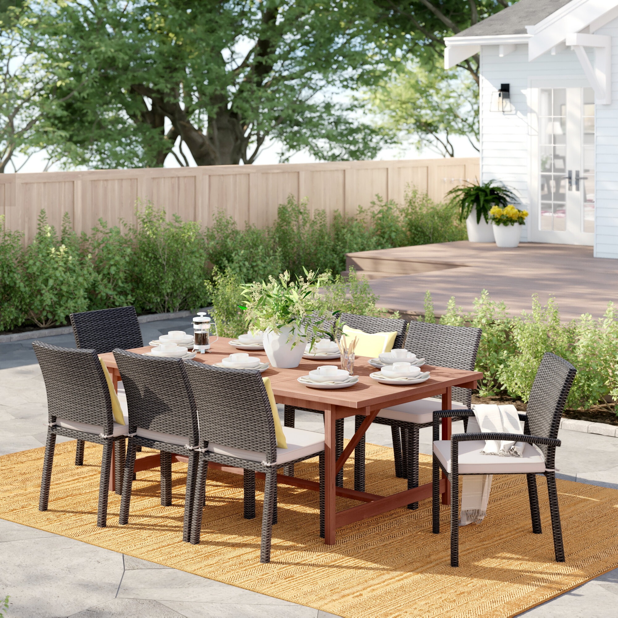Sol 72 Outdoor Brighton 9 Piece Dining Set With Cushions Wayfair