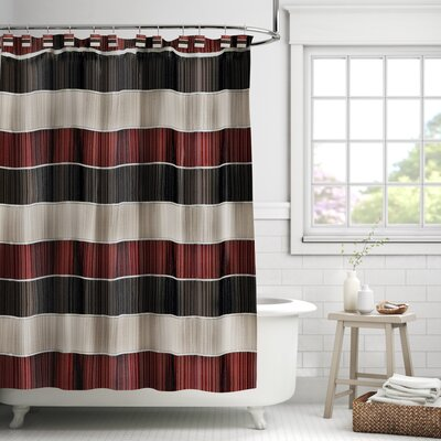 Alcott Hill Aaronsburg Traditional Chic Striped Fabric Single Shower Curtain