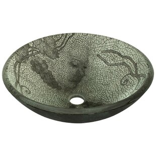 Savings Cracked Vineyard Glass Circular Vessel Bathroom Sink By MR Direct