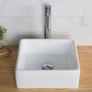 Ceramic Ceramic Square Vessel Bathroom Sink with Faucet Kraus