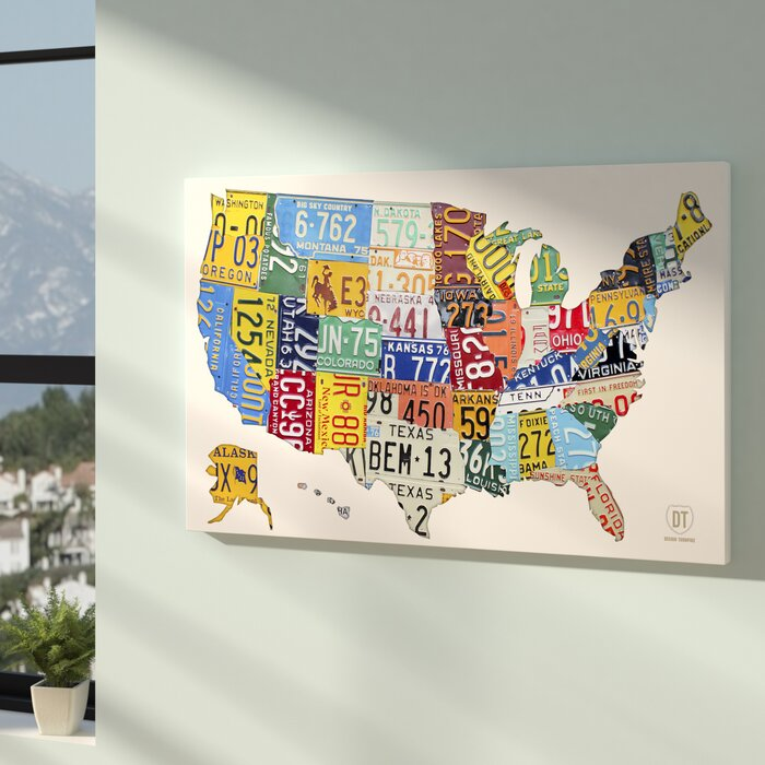 License Plate Map USA 2 Graphic Art on Wrapped Canvas