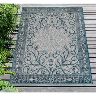 Arverne Mosaic Teal Indoor/Outdoor Area Rug