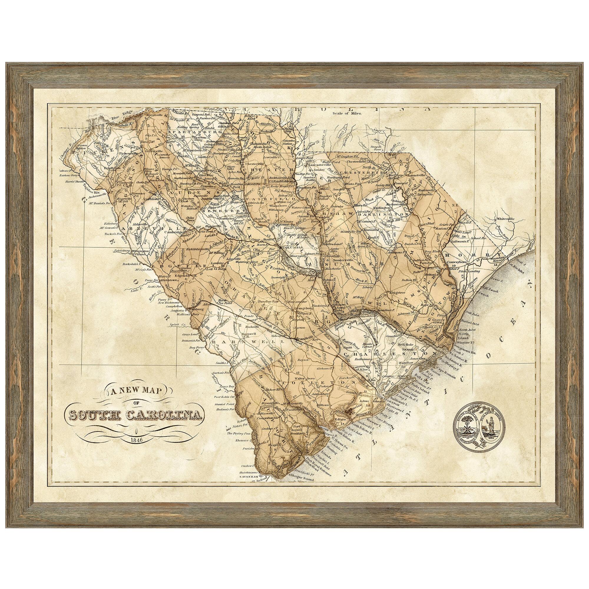 Charlton Home Map Of South Carolina Framed Graphic Art Print Reviews Wayfair