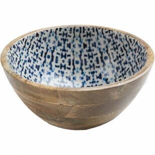 Janae Rustic Enamel Coated Mango Wood Serving Bowl