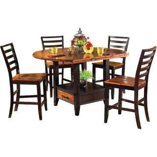 Hidalgo 5 Piece Counter Height Drop Leaf Solid Wood Dining Set Millwood Pines
