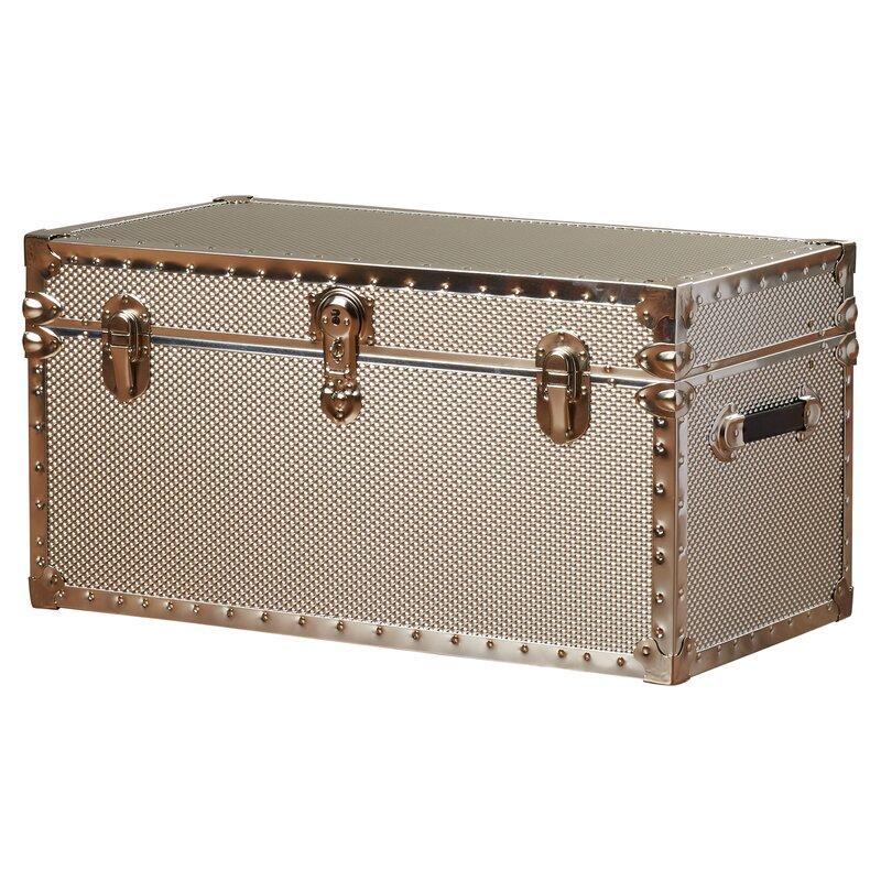 boston embossed steel storage trunk with locker