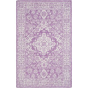 Affordable Price Baconton Hand Hooked Bright Purple/White Area Rug By Bungalow Rose