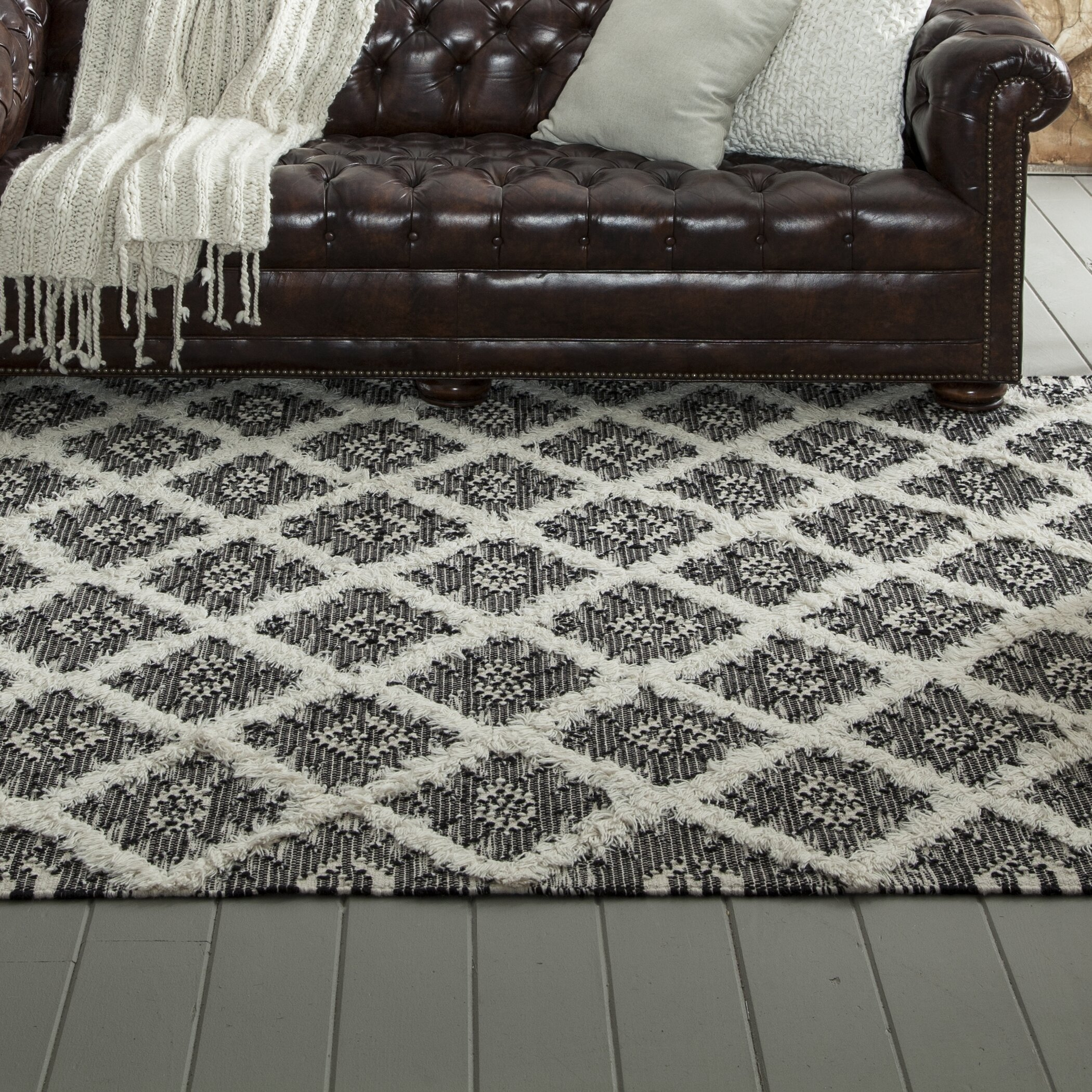 Union Rustic Gillsville Handmade Flatweave Wool Black Bright White Area Rug Reviews Wayfair