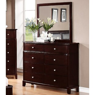 Harbaugh 8 Drawer Double Dresser with Mirror