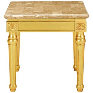 Astoria Grand Swink Marble Top Fluted Detail Wooden Turned Legs End Table