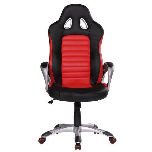 Drehstuhl | Büro > Bürostühle und Sessel  | Rot / schwarz / schwarz | Polyurethan - Baumwolle - Aluminium - Laminat - Leder | Wildon Home