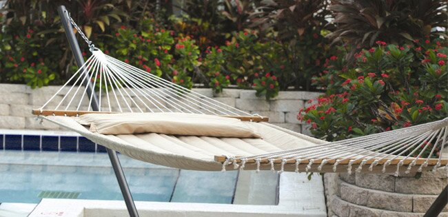 hammocks create a relaxing calming environment wherever they are hung  from proper hanging height to which fabric types are best suited to your needs     hammock buying guide   wayfair  rh   wayfair