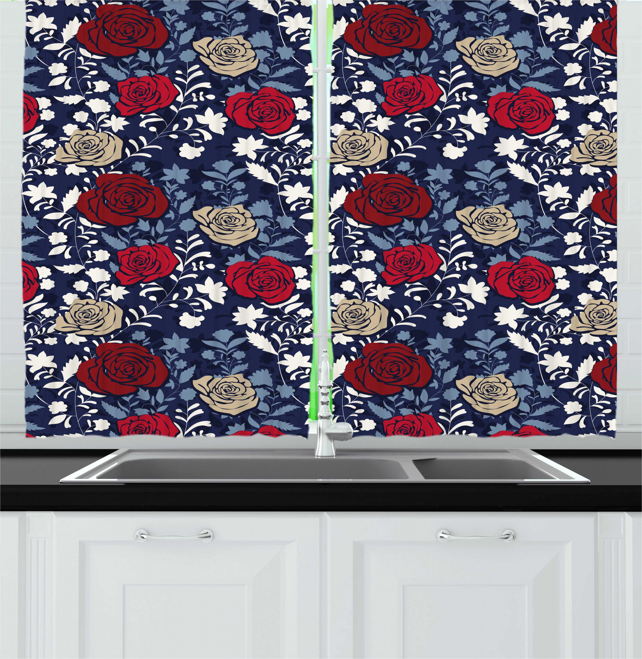 East Urban Home 2 Piece Jacobean Romantic Pattern Of Botanical Silhouettes And Blooming Roses Garden Art Kitchen Curtain Set Wayfair