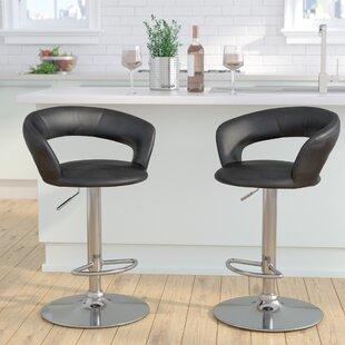 Evins Adjustable Height Swivel Bar Stool by Brayden Studio