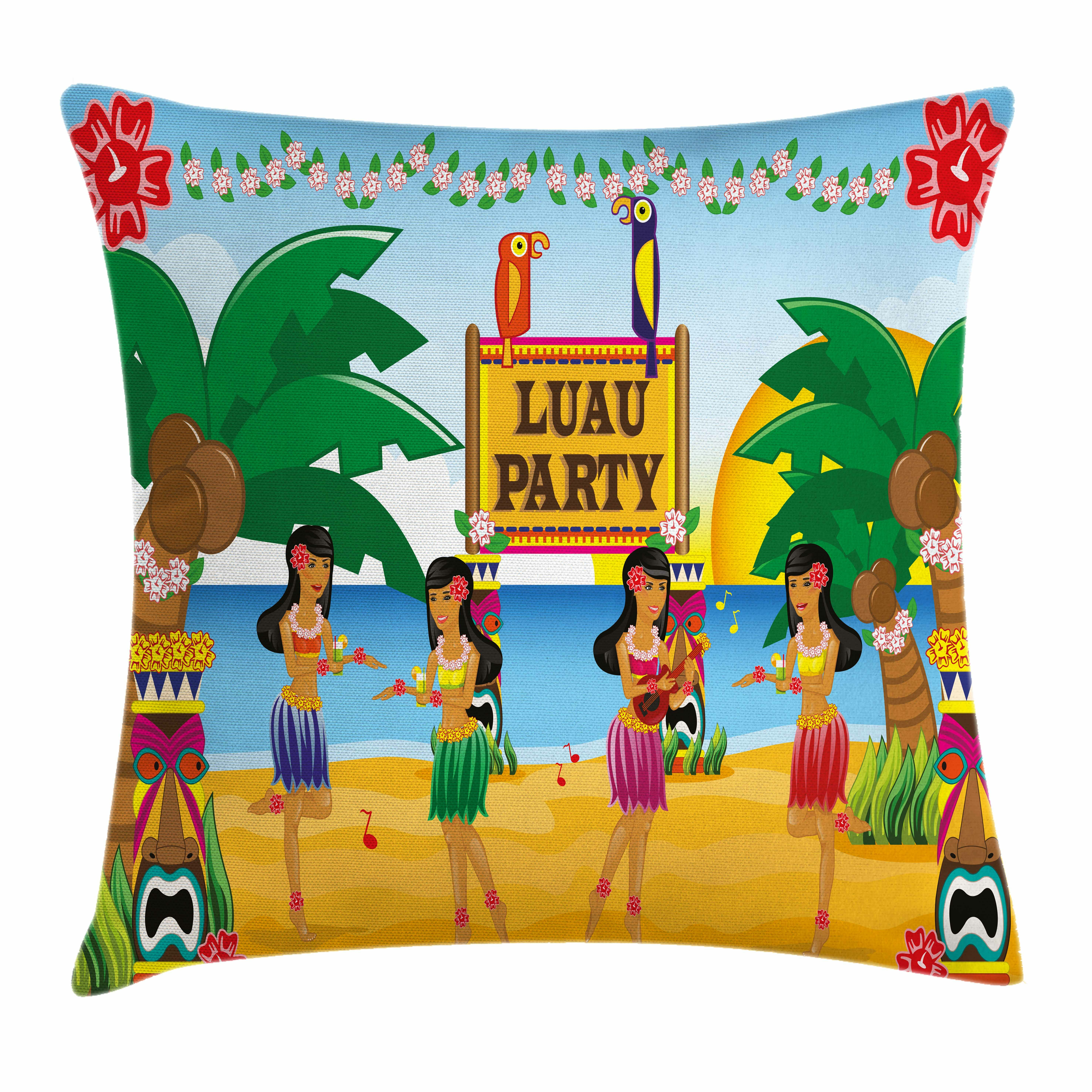 ambesonne tiki bar decor luau party dance square pillow cover