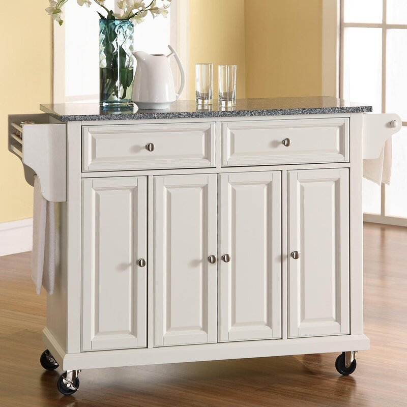 Darby Home Co Pottstown Kitchen CartIsland with Granite Top