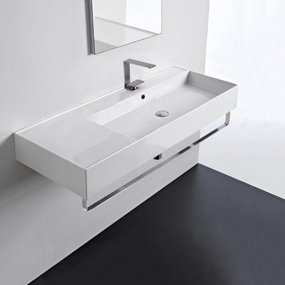 Scarabeo By Nameeks White Ceramic Rectangular Wall Mount Bathroom Sink With Overflow Wayfair