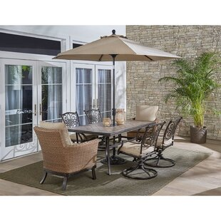 Carlee 7 Piece Dining Set with Cushions by Fleur De Lis Living