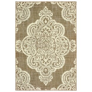 Salerno Over-scale Medallion Tan Indoor/Outdoor Area Rug