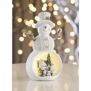 Beige Christmas Scene Snowman LED Luminary Light Image