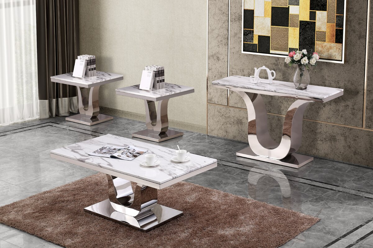 Everly Quinn Margate 4 Piece Coffee Table Set