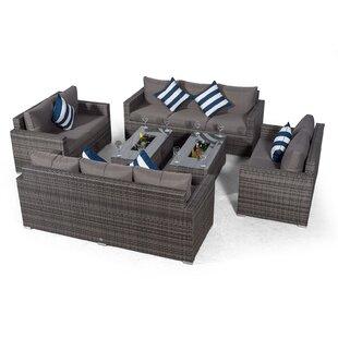 Villatoro Grey Rattan 2 X 3 Seat Sofa + 2 X 2 Seat Sofa & Ice Bucket Rectangle Coffee Table, Outdoor Patio Garden Furniture Image