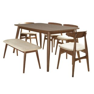6 Piece Rubber Solid Wood Dining Set