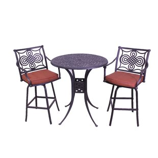 Laux 3 Piece Bar Height Dining Set with Sunbrella Cushions