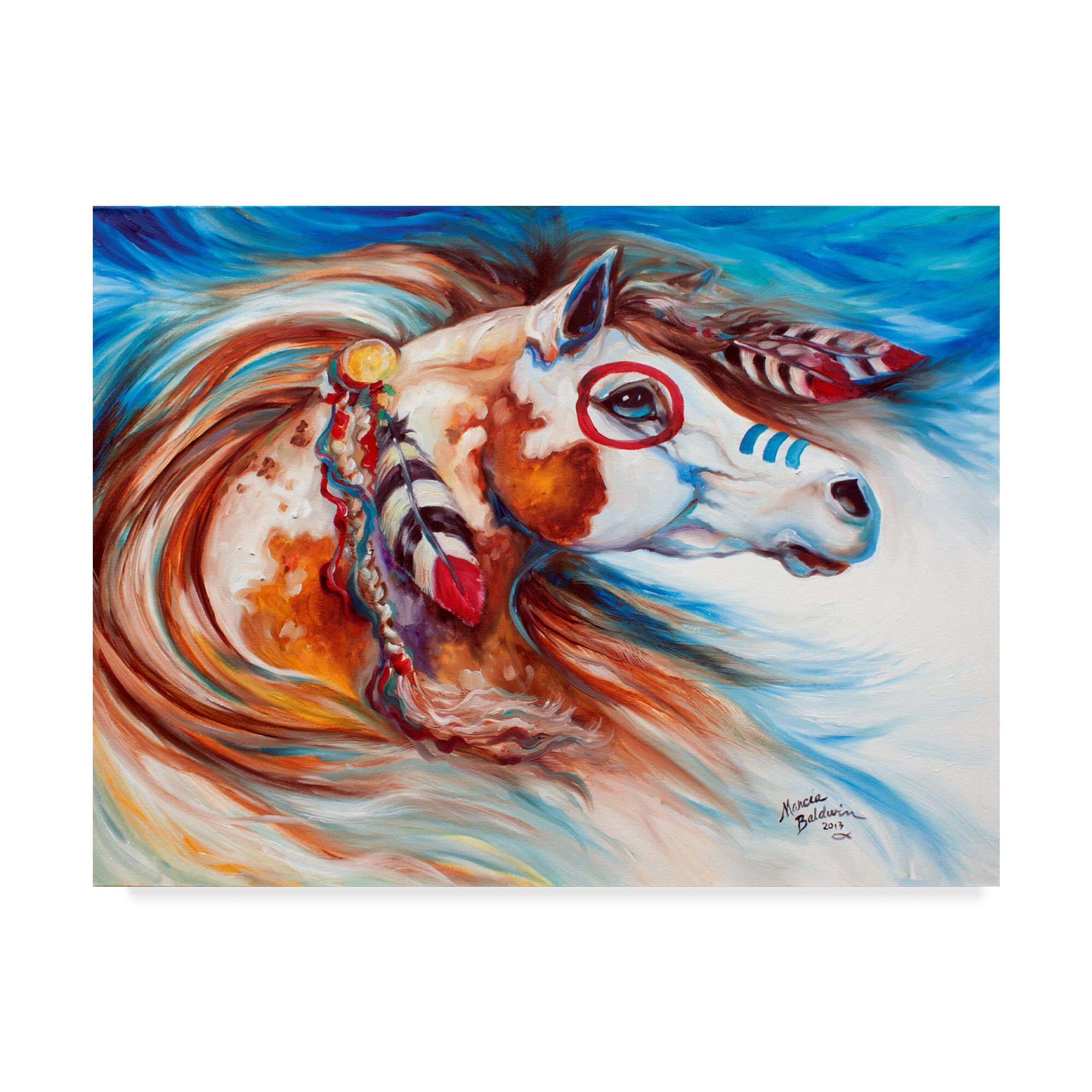 Trademark Art Wind Of Thunder Indian War Horse Acrylic Painting Print On Wrapped Canvas