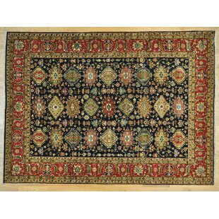 Check Prices One-of-a-Kind Brekke Karajeh Hand-Knotted Black Wool Area Rug By Isabelline