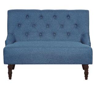 Nixa Tufted Linen Upholstered Loveseat by House of Hampton