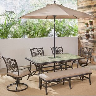 Grooms 6 Piece Dining Set with Cushions by Fleur De Lis Living