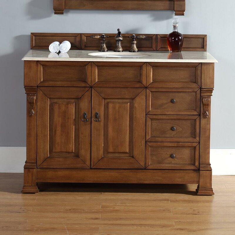 darby home co bedrock 48 single country oak bathroom vanity set rh wayfair com oak bathroom vanities without tops oak bathroom vanity units uk