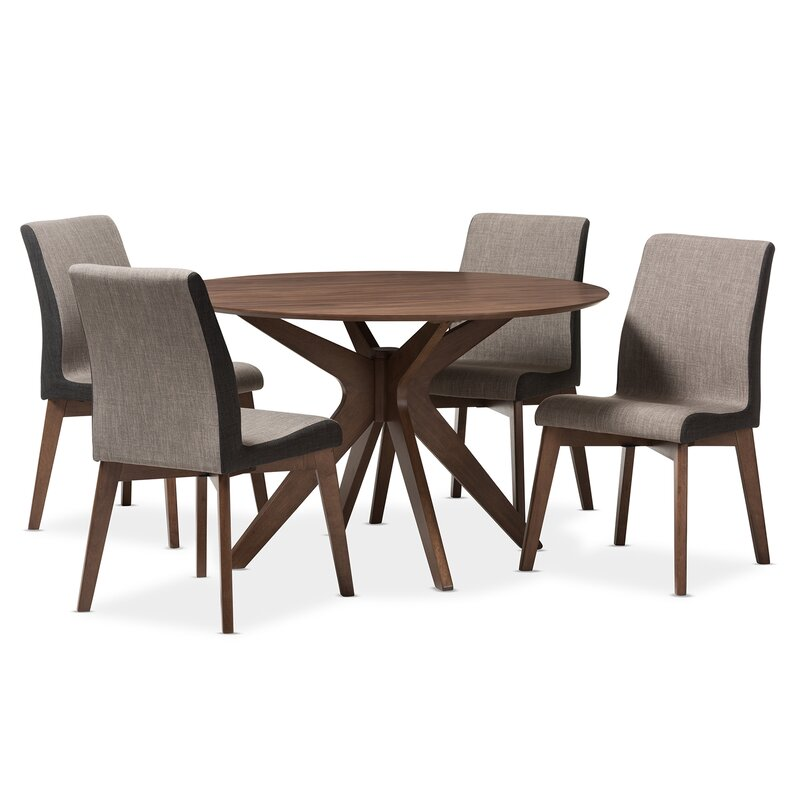 Kimberly Mid Century Modern Wood Round 5 Piece Dining Set