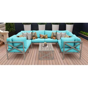 Carlisle Outdoor 9 Piece Sectional Seating Group with Cushions by TK Classics