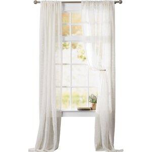 Hensley Solid Sheer Rod Pocket Single Curtain Panel