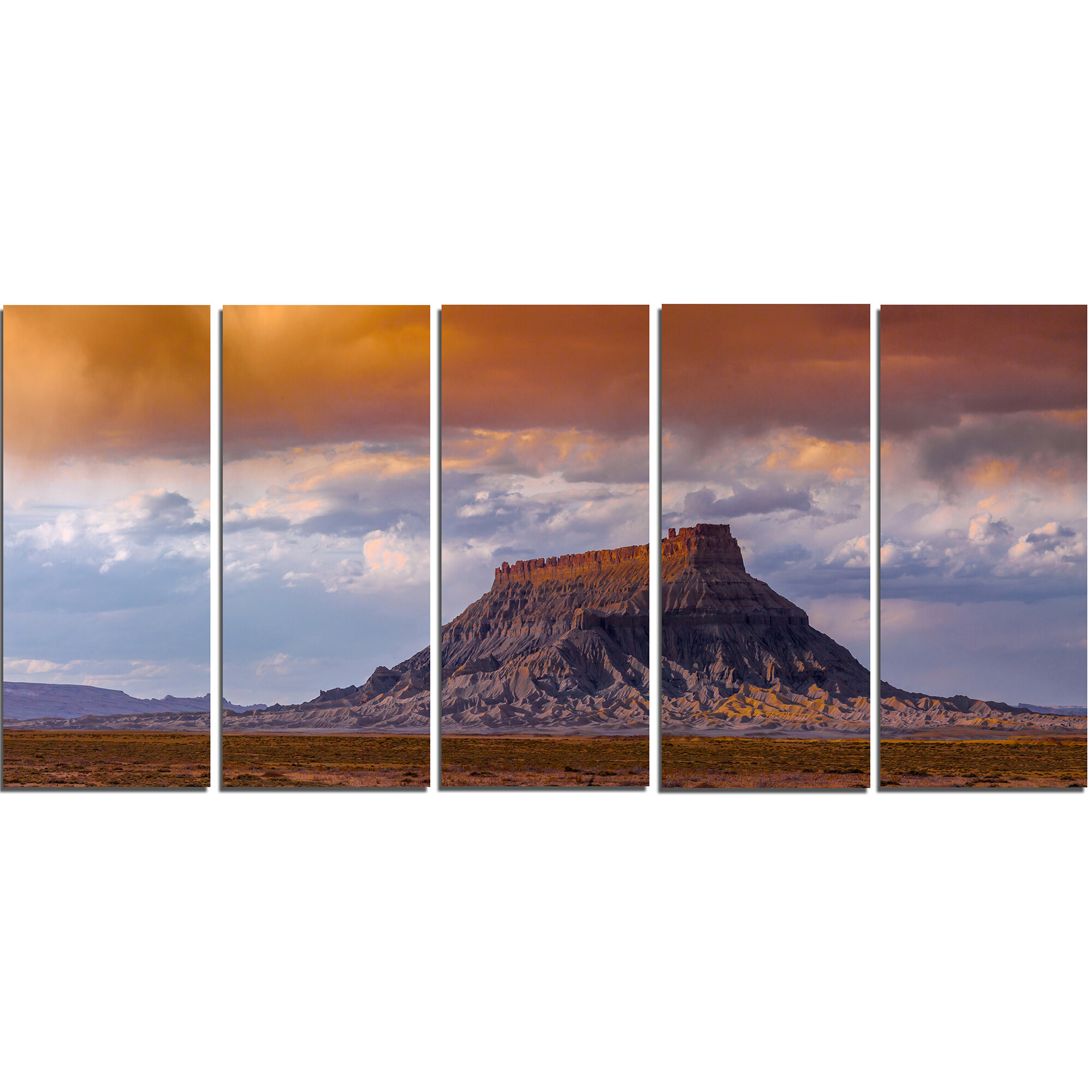 Designart Factory Buttle Utah Panorama 5 Piece Wall Art On Wrapped Canvas Set Wayfair