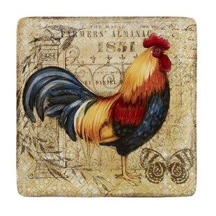 Frison Gilded Rooster Square Platter